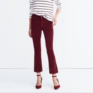 Madewell Velvet Maroon Cali Demi-boot pants 27
